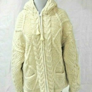 Womens Wool Cable Sweater Jacket Size M